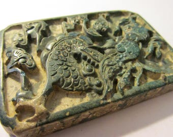 Carved Chinese Deep Green Pendant of Mythical Dragon, 2 3/4""