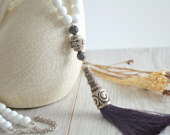 White Grey Beaded Tassel Necklace, Bohemian Tassel Necklace, Antique Silver Greek Spiral symbol Tassel Necklace, Gypsy Ethnic Jewelry