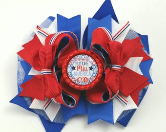 Fourth of July hair bow..4th of July hair bow.. Independence day hair bow..OTT fourth of July hair bow... future miss America hair bow