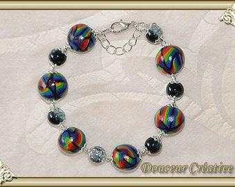 Bracelet black multicolor Rainbow 101039