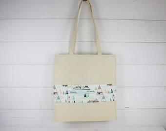 "Tote bag ""sioux"" in metis white sailcloth fabric and cotton printed tents pastels"