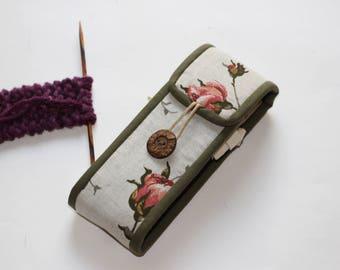 """DPN case 6"""" Knitting needles organizer Crafts storage Socks Knit needles/crochet hook holder Prym/Addi/Knitter's Pride/Hiya/ChiaoGoo"""