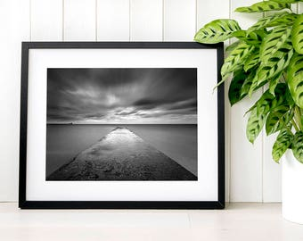 Black and white decor, monochrome apartment decoration, contemporary wall art living room, minimalist large art, coastal wall art photograph