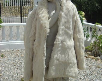 Vintage..White/Cream..Real Fur Coat...Coney Fun Fur From The 70/80s..Festivals/Boho/Glamour and Fun..a Classic colour...10/12 size.