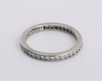 Tiffany and Co. Platinum and Diamond Eternity Band 1ct. tw. , Size 5.25