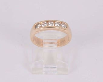 14K Yellow Gold Five Diamond Anniversary Band with app. 1/2 ct. tw., size 4.5