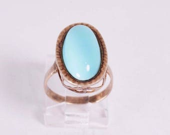 14K Yellow Gold Turquoise Ring, size 5.75