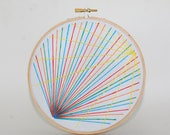 Rainbow abstract embroidered wall hanging