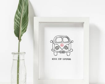 A4 Kombi Wall Art, hand illustrated Kombi Print, hand drawn kids room decoration, A4 Digital Wall Art, Never Stop Exploring Printable Poster