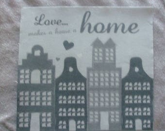 Set of 20 paper napkins pretty thick - Deco Love makes a house a Home dark grey - 38 cm x 38 cm - Table Decoration / Collage
