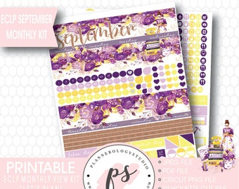 Let's Plan September 2017 Monthly View Kit Printable Planner Stickers (for use with Erin Condren ECLP) (JPG/PDF/Silhouette Cut File)