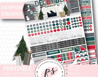Seasons Greetings Christmas December Monthly View Kit Printable Planner Stickers (for Classic Happy Planner) | JPG/PDF/Silhouette Cut File