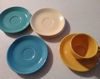 Vintage Fiesta Ware Saucers with 1 matching cup