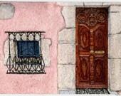 "ORIGINAL Miniature Ink and Watercolour Painting (2017) - ""Elegant Door in Provençe"" (France)/Mini Vacations Series"