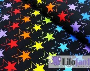 Rainbow stars in black organic cotton jersey