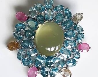 107.00ct Huge Beautiful Blue Zircon Ruby Brooch Sterling Silver & Gold