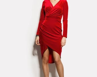 Velvet Dress Red Wrap Dress Occasion Dress Party Red Dress