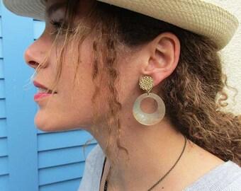 Beige hoop clip earrings