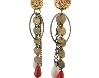 Amazon bronze clip earring red (made in France)