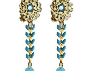Earring clip turquoise Isis (made in France)