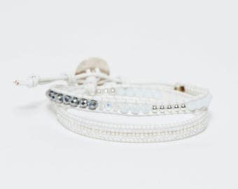 Wrap bracelet 2 turns white and silver