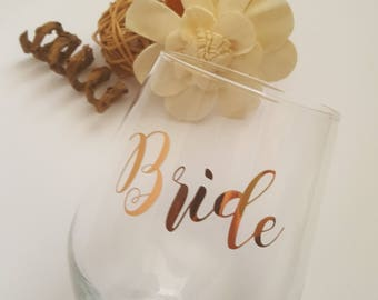 Personalised Glass, Bride Glass, Personalized Wedding Glass, Personalised Glass, Bridesmaid Glass, Maid of Honour Glass, Bridal Party Gifts