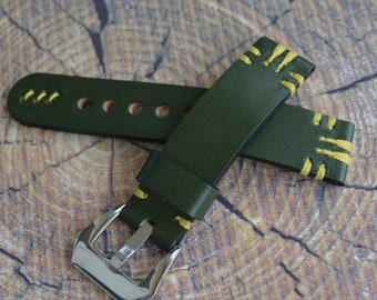 Green watch strap, leather watch strap 20mm 21mm 22mm 23mm 24mm handmade