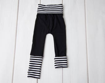 Grow with Me Pants, Kids Clothes, Gender Neutral Clothing, Toddler Monochrome Outfit, Black & White Maxaloones, Baby Leggings, Grow Pants
