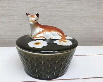 Vintage Secla Butter Dish with Cow Finial