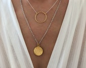 Gold Disc Necklace, Gold Necklace, Disc Pendant, Disc Jewelry, Gift for Her, Made from Sterling Silver 925, in Greece.