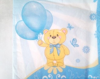 set of 2 Teddy bear paper napkins and his balloons