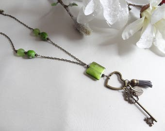 Fantasy bronze green heart, key, leaf and tassel necklace