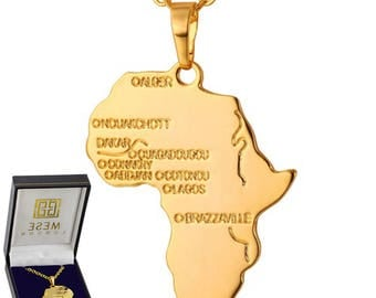 African Map Necklace 18K Gold Plated Africa Continent Pendant - Elegant Gift Box