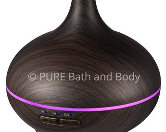 Essential Oil, Diffuser, Aromatherapyr, BPA-Free Wood Grain, Cool Mist Humidifier with 14 Colors, 3 Timer Setting, Auto-off Features, 150 ML