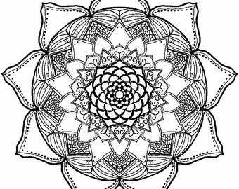 Digital Download, Printable Mandala Coloring Page, Art Therapy, Bullet Journal, Adult Coloring, Anti-Stress Coloring, Instant Download, Boho
