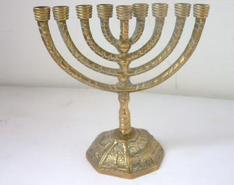 Brass Vintage Hanukiah Mid 20th century