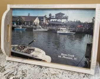 Shem Creek Tray, Personalized Serving Tray,  Mount Pleasant SC, Serving Tray With Photo, Wood Serving Tray, Custom Serving Tray, Photo Tray