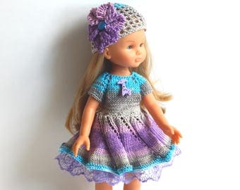 Colorful dress and hat with a flower Clothes for dolls Paola Reina,  Corolle Les Cheries ,Antonio Juan Munecas, 13 inch doll clothes