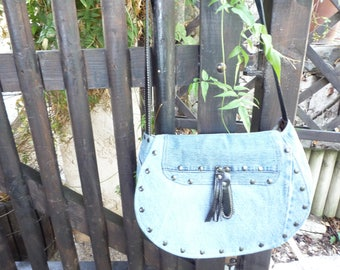 Jeans blue flap shoulder Messenger bag
