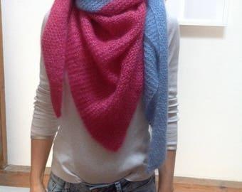 Scarf shawl scarf mohair silk blue dark pink pink pink triangle cloth
