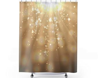 Glitter shower curtain. Glam bathroom. Coffee color designer shower curtain. Sparkly shower curtain. Glimmering lights. Tan.