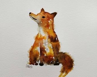 A4 Fox. Original watercolour drawing and painting.