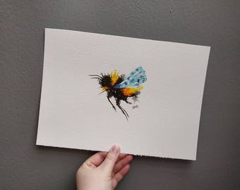 Bumble Bee with Pale Blue wings. A4 size. Original watercolour painting. Not a print.