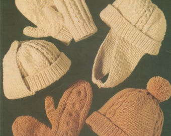 Childrens Trapper Hat and Mittens PDF Knitting Pattern : Boys and Girls 8 - 14 years . 2 Designs . Aran . 10 ply . Instant Download