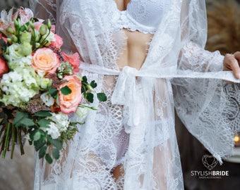 Bridal Short Robe Lace, Chantilly Lace Robe, Lace Bridal Robe, Lace Sleeve Robe, Embroidered Lace Bridal Robe,  French Lace Wedding Robe