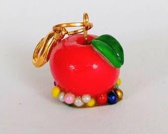 Candied Apple Charm - Caramel Rainbow Confetti sprinkles