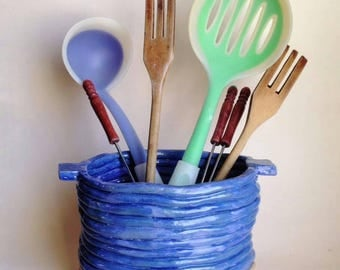 Pot for spoons and paddles in the kitchen-handmade