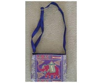 Purple purse//purple tote//elephant purse//Indian purse//Indian tote//purple shoulder bag//cute handbag//purple handbag//elephant design//