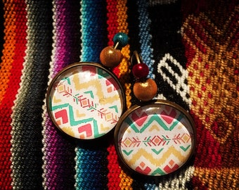 Earrings with Cabochons Tao Aztec patterns