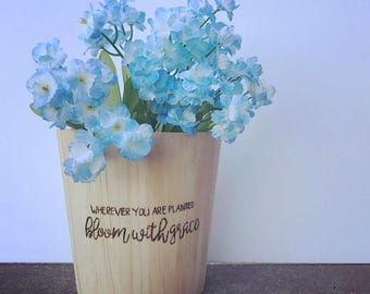 Bloom with Grace - Wooden Flower Pot